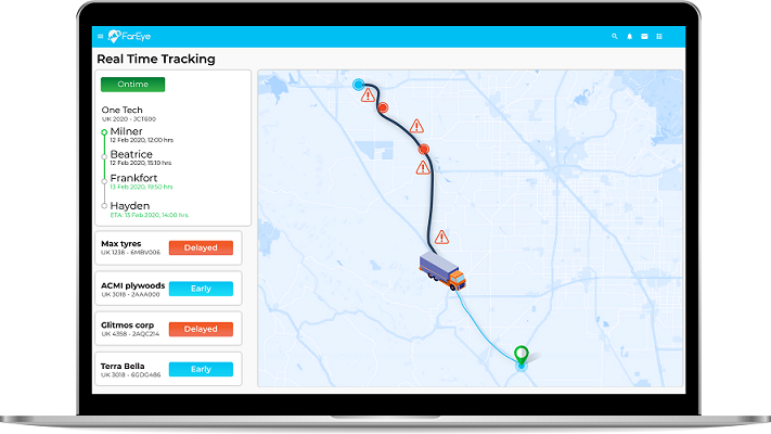 Real time delivery tracking management